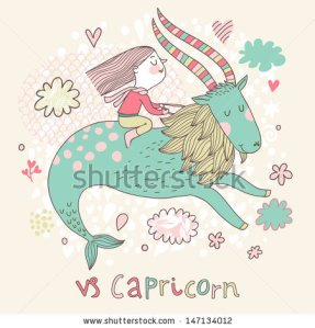 stock-vector-cute-zodiac-sign-capricorn-vector-illustration-little-girl-riding-on-the-big-blue-ibex-in-the-147134012