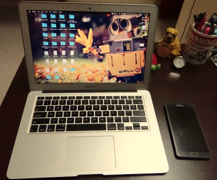 My MacBook Air and Samsung Galaxy Note-4