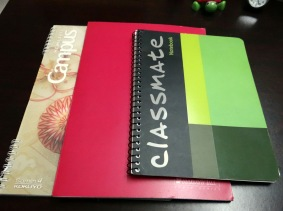 The notebooks I'm using presently (I plotted Deceived in the one on the left.)